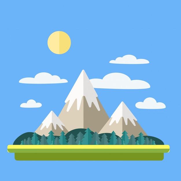 Paysage de montagnes avec nuages et forêt