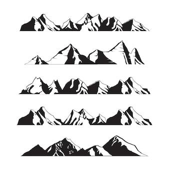 Paysage de montagnes silhouette en set d'illustration panoramique