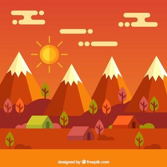 Paysage avec des montagnes, des tons chauds