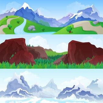 Paysage de montagnes vallonnées en saisons: été et hiver