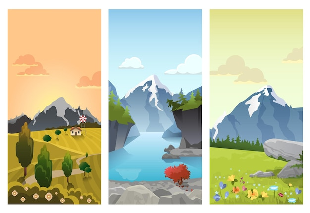 Paysage de montagnes vallonnées en saisons: printemps été automne