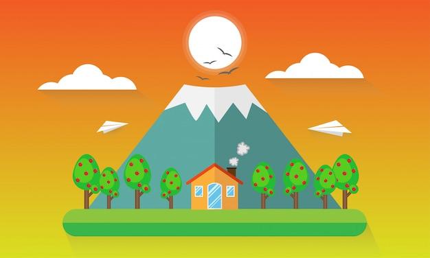 Paysage de montagnes de voyage et vacances de repos de tourisme extérieur et avion de papier