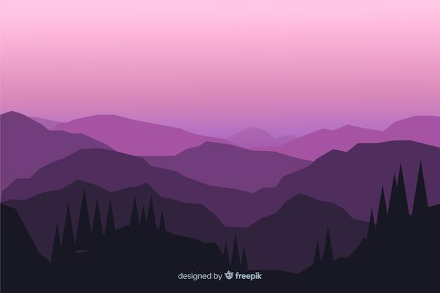 Paysage de montagnes vue rose