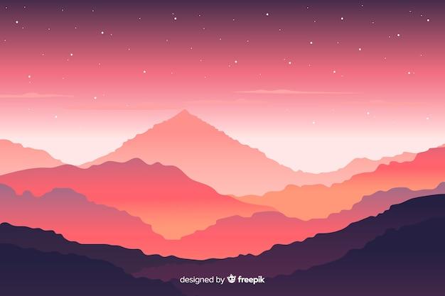 Paysage de montagnes avec vue rose