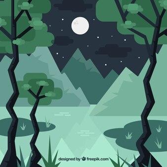 Paysage montagneux fond avec des arbres en design plat