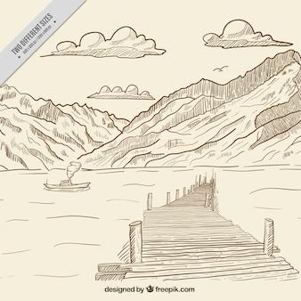 Paysage montagneux fond avec la mer tirée par la main