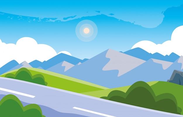 Paysage montagneux avec scène de route