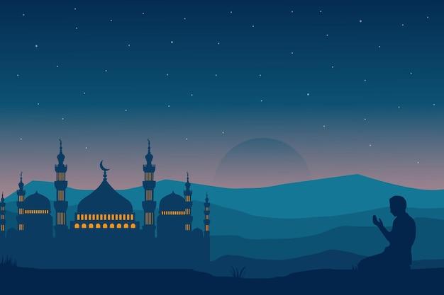 Paysage de mosquée plat ramadan kareem beau ciel dégradé