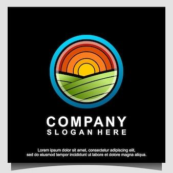 Paysage nature agriculture vecteur de conception de logo