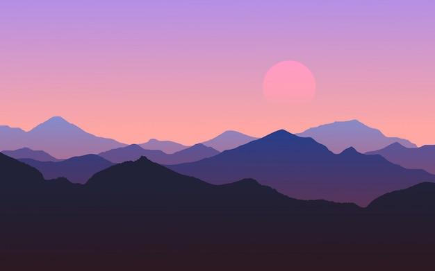 Paysage nature coucher de soleil montagne