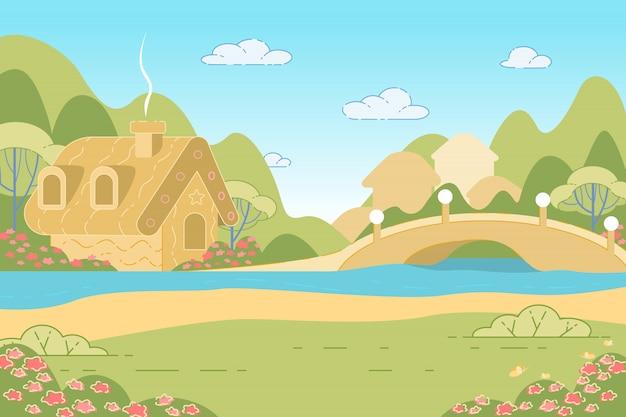 Paysage de nature avec la maison de pain d'épice de conte de fées