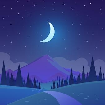 Paysage de la nature la nuit