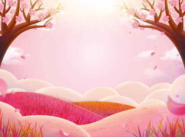 Paysage de nature rose romantique avec fleurs de prunier et effet de soleil