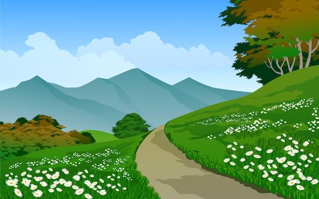 Paysage de nature vectorielle avec sentier et montagne