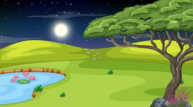 Paysage de nature vierge à la scène de nuit