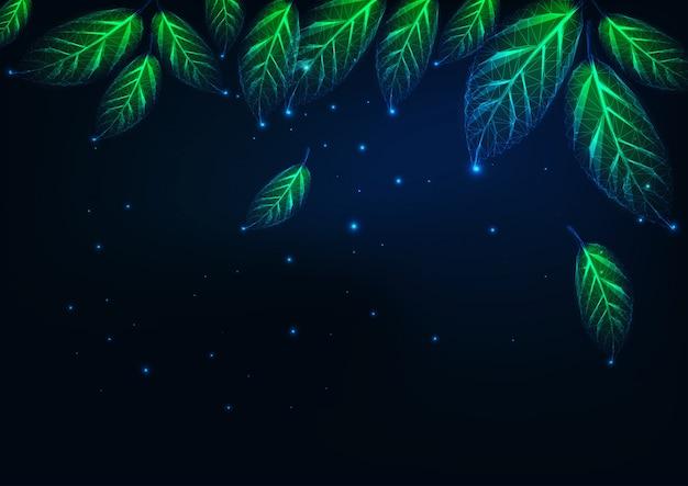 Paysage naturel abstrait futuriste à la bannière de nuit avec des feuilles vertes polygonales basses rougeoyantes