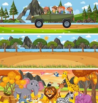 Paysage naturel différent sur scène de jour avec personnage de dessin animé
