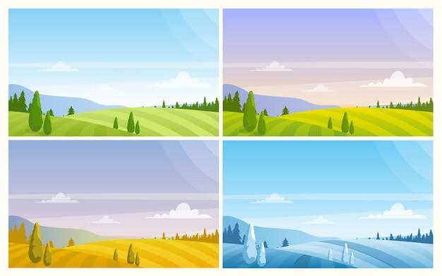 Paysage naturel à différentes saisons