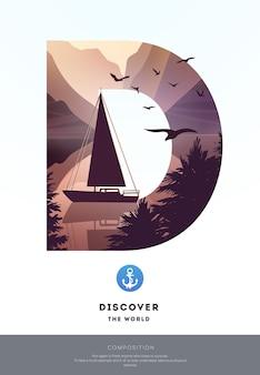 Paysage Naturel Avec Lac. Illustration Vectorielle Vecteur Premium