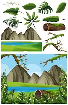 Paysage naturel de lac et de montagne