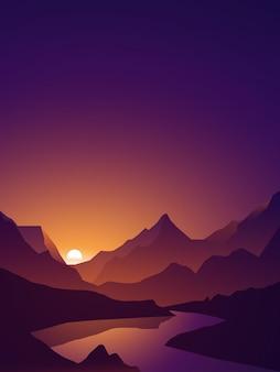 Paysage naturel avec montagne et rivière en silhouette