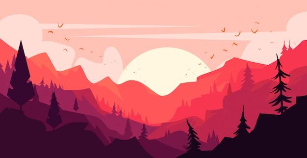 Paysage naturel de montagne en style cartoon. illustration de paysage plat.