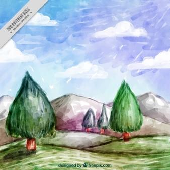 Paysage naturel peint à l'aquarelle