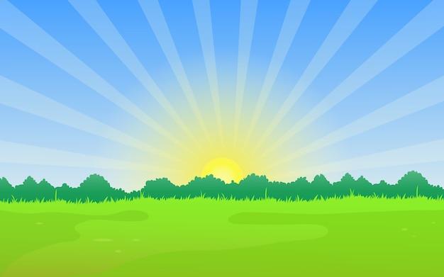 Paysage naturel avec prairie et lever de soleil en été.