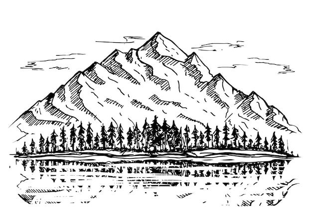 Paysage naturel sauvage avec des rochers de pins de montagnes forêt de pins de montagnes dessinées à la main