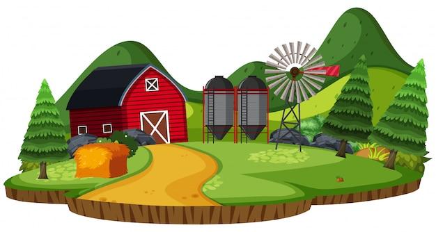 Paysage naturel de terres agricoles avec grange et silo