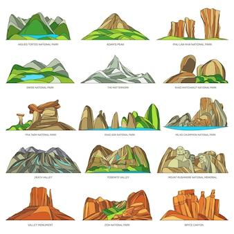 Paysage naturel de vecteur ou icônes linéaires de point de repère