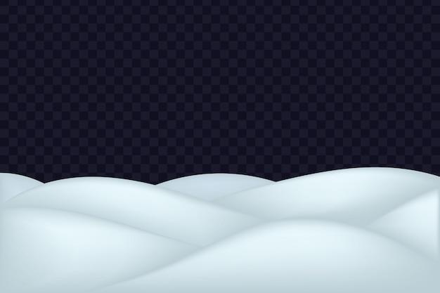 Paysage de neige isolé sur fond transparent foncé.