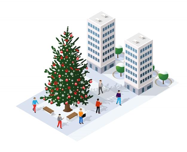 Paysage de neige recouvre la ville isométrique futuriste