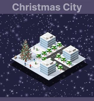 Paysage de neige recouvre la ville isométrique
