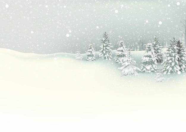 Paysage de noël d'hiver avec des chutes de neige