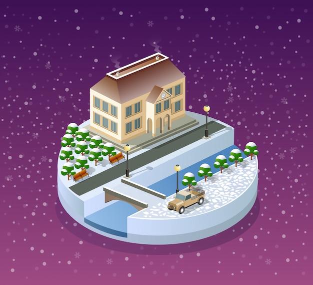 Paysage de noël d'hiver