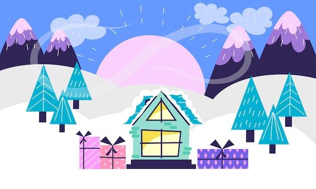 Paysage de noël avec inscription joyeux noël sur fond d'arbres de montagnes et de maison