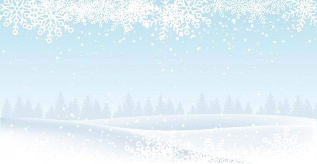 Paysage de noël avec neige et arbres.