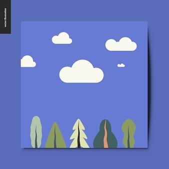 Paysage avec nuages sur le fond et plantes au premier plan