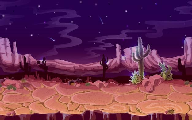 Paysage de nuit du désert sans soudure. jeu de dessin animé, arrière-plan de bannière