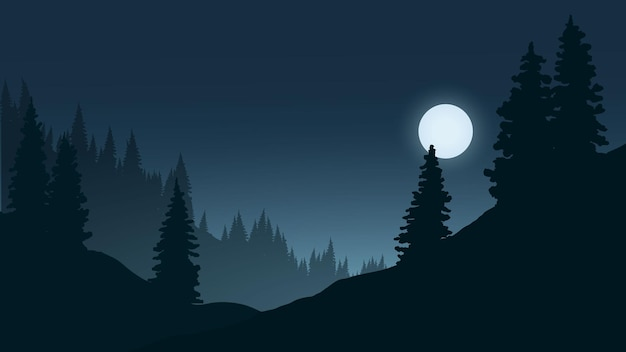 Paysage de nuit avec forêt et clair de lune