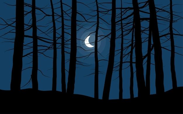 Paysage de nuit de forêt avec croissant de lune
