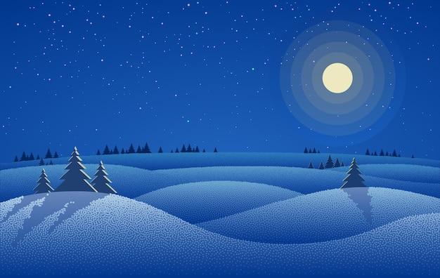 Paysage de nuit d'hiver avec des arbres de dérive de neige et ciel étoilé de nuit avec la lune