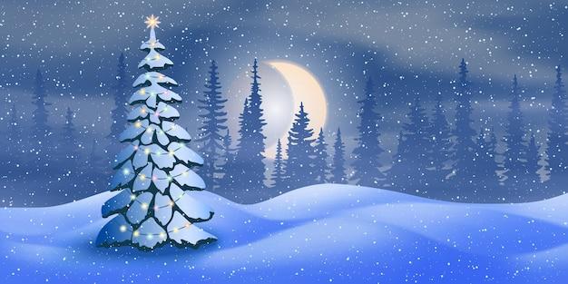 Paysage de nuit d'hiver avec lune et arbre de noël