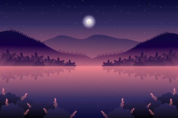 Paysage de nuit avec illustration mer et ciel