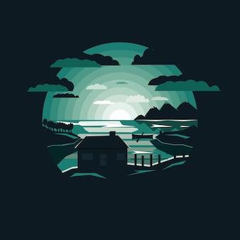 Paysage de nuit avec maison au bord du lac