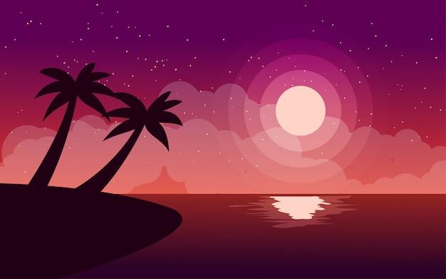 Paysage de nuit de plage tropicale avec pleine lune