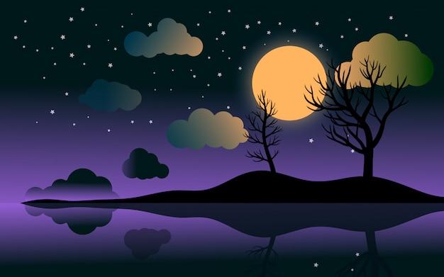 Paysage de nuit plat avec ciel violet et clair de lune