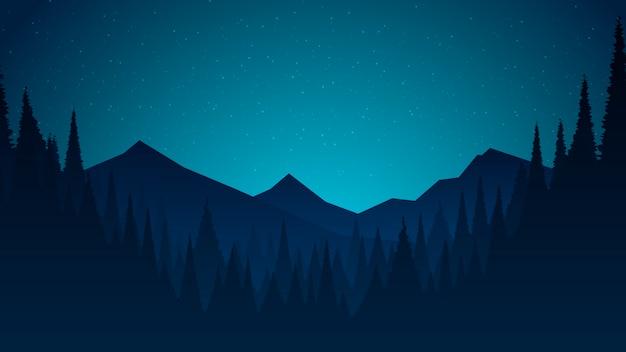 Paysage de nuit plat avec collines et ciel étoilé