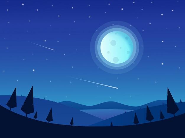Paysage de nuit avec une pleine lune et un ciel étoilé